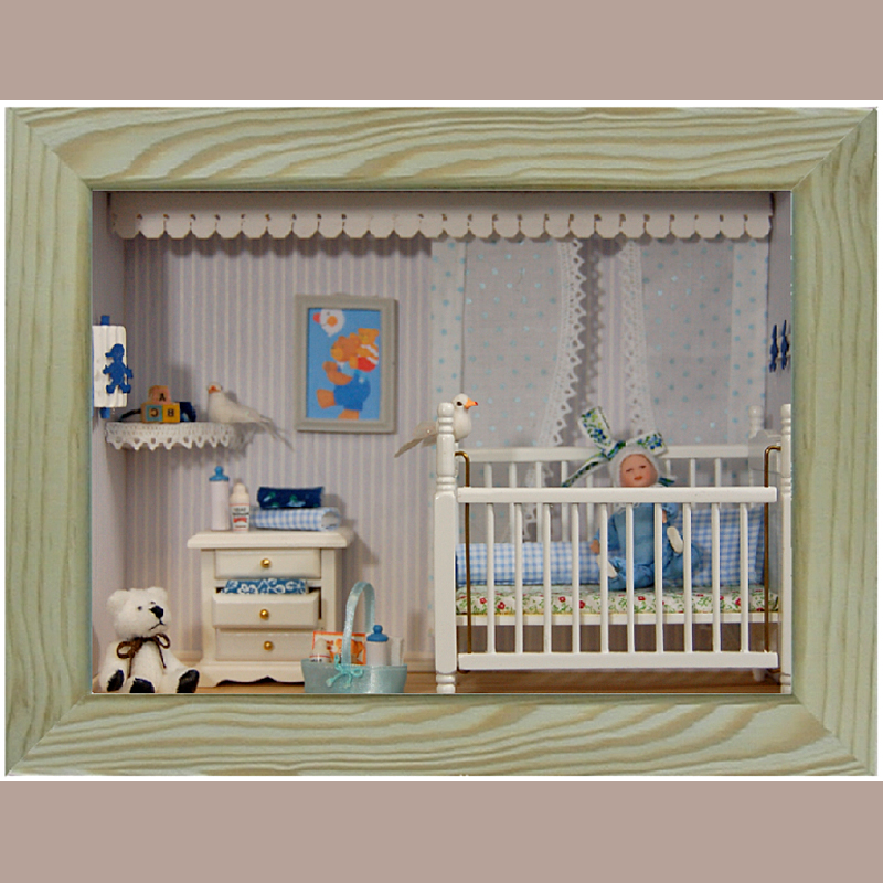 puppenhaus baus tze bausatz babyzimmer blau leipziger puppenkiste e v karin helmers. Black Bedroom Furniture Sets. Home Design Ideas